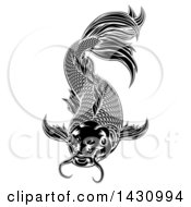 Clipart Of A Black And White Woodcut Carp Koi Fish Royalty Free Vector Illustration by AtStockIllustration
