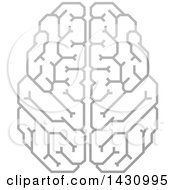 Clipart Of A Grayscale Human Brain With Electrical Circuits Royalty Free Vector Illustration