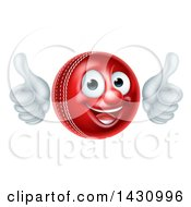 3d Happy Cricket Ball Mascot Character Giving Two Thumbs Up