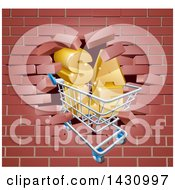 Clipart Of A Shopping Cart And SALE Crashing Through A 3d Red Brick Wall Royalty Free Vector Illustration