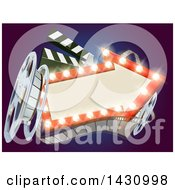 Clipart Of A 3d Film Reel Clapperboard And An Illuminated Arrow Sign Over Blue Royalty Free Vector Illustration by AtStockIllustration