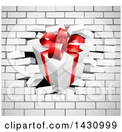 Clipart Of A 3d Gift Box Breaking Through A White Brick Wall Royalty Free Vector Illustration