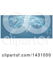 Clipart Of A 3d Blue World Map With Flight Paths Royalty Free Vector Illustration