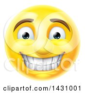 Clipart Of A Cartoon Grinning Yellow Smiley Face Emoji Emoticon Royalty Free Vector Illustration