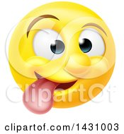 Clipart Of A Cartoon Goofy Yellow Smiley Face Emoji Emoticon Royalty Free Vector Illustration