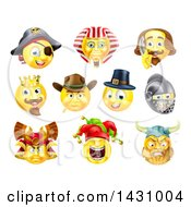 Clipart Of Historical Themed Emoji Yellow Smiley Face Emoticons Royalty Free Vector Illustration by AtStockIllustration