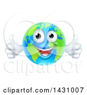 Poster, Art Print Of Happy Blue And Green Earth Mascot Giving Two Thumbs Up