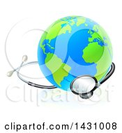 Clipart Of A Blue And Green World Earth Globe With A Stethoscope Royalty Free Vector Illustration by AtStockIllustration