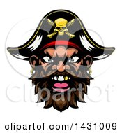 Clipart Of A Pirate Mascot Face With A Gold Tooth And Captain Hat Royalty Free Vector Illustration