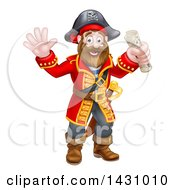 Clipart Of A Happy Male Pirate Captain Holding A Treasure Map And Waving Royalty Free Vector Illustration by AtStockIllustration