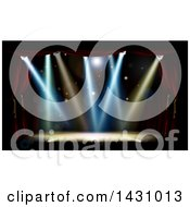 Clipart Of A Stage With Footlights And Spotlights Framed With Red Curtains Royalty Free Vector Illustration by AtStockIllustration