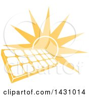 Clipart Of A Bright Orange Sun Behind A Solar Panel Photovoltaics Cell Royalty Free Vector Illustration