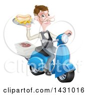 Clipart Of A White Male Waiter With A Curling Mustache Holding A Hot Dog And Fries On A Platter Riding A Scooter With Pizza Boxes Royalty Free Vector Illustration by AtStockIllustration