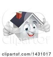 Clipart Of A Cartoon Happy White Home Character Giving Two Thumbs Up Royalty Free Vector Illustration