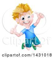 Clipart Of A Cartoon Happy Excited Blond Caucasian Boy Jumping And Giving Two Thumbs Up Royalty Free Vector Illustration by AtStockIllustration