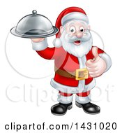 Christmas Santa Claus Holding A Cloche Platter And Giving A Thumb Up