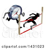 Clipart Of A Silhouetted Woman Racing Against The Clock Sprinting Through A Finish Line Royalty Free Vector Illustration