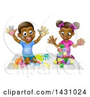 Clipart Of A Cartoon Happy Black Boy And Girl Kneeling And Finger Painting And Playing With Blocks Royalty Free Vector Illustration