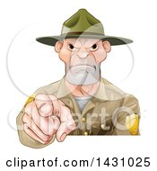Clipart Of A Tough White Male Forest Ranger Pointing Outwards Royalty Free Vector Illustration