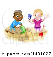 Poster, Art Print Of Happy White Girl And Black Boy Playing And Making A Sand Castle
