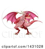 Clipart Of A Mad Red Dragon With A Horned Nose Royalty Free Vector Illustration by AtStockIllustration