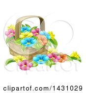 Clipart Of A Basket Full Of Colorful Flowers Royalty Free Vector Illustration