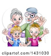 Cartoon Happy Caucasian Grandparents And Grand Children Waving