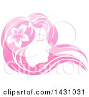 Clipart Of A Gradient Pink Beatiful Womans Face In Profile With Long Hair And A Flower Royalty Free Vector Illustration by AtStockIllustration
