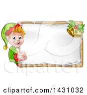 Clipart Of A Happy Caucasian Male Christmas Elf Pointing Aorund A Blank Sign With Bells Royalty Free Vector Illustration by AtStockIllustration
