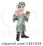 Clipart Of A Cartoon Full Length Cartoon Caucasian Male Detective Like Sherlock Homes Looking Through A Magnifying Glass And Holding A Pipe Royalty Free Vector Illustration