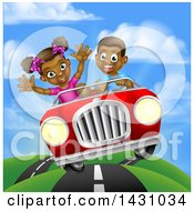 Happy Black Boy Driving A Girl In A Red Convertible Car On A Country Road