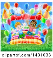 Clipart Of Cartoon Happy White And Black Boys Jumping On A Bouncy House Castle Royalty Free Vector Illustration by AtStockIllustration