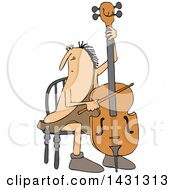 Cartoon Caveman Musician Playing A Cello