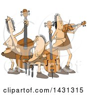 Clipart Of A Cartoon Caveman Orchestra With A Double Bass Cello And Violin Royalty Free Vector Illustration