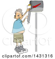 Clipart Of A Cartoon Happy White Boy Getting Letters From A Mailbox Royalty Free Vector Illustration