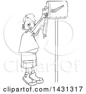 Clipart Of A Cartoon Black And White Lineart Boy Getting Letters From A Mailbox Royalty Free Vector Illustration
