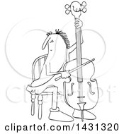 Cartoon Black And White Lineart Caveman Musician Playing A Cello