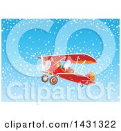 Clipart Of A Scene Of Santa Claus Flying A Biplane In The Snow Royalty Free Vector Illustration by Alex Bannykh