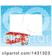 Horizontal Border Of Of Santa Claus Flying A Biplane In The Snow