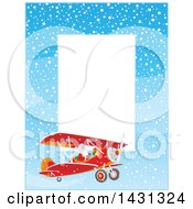 Vertical Border Of Of Santa Claus Flying A Biplane In The Snow