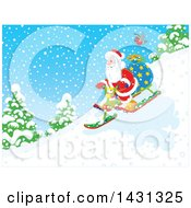 Scene Of Santa Claus Sledding Down A Hill In The Snow