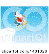 Scene Of Santa Claus Sledding Off Of A Cliff In The Snow