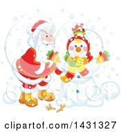 Clipart Of A Happy Santa Putting Together A Winter Snowman Royalty Free Vector Illustration
