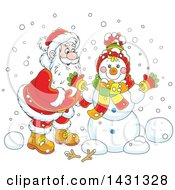 Clipart Of A Cartoon Happy Santa Claus Putting Together A Winter Snowman Royalty Free Vector Illustration