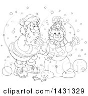 Clipart Of A Cartoon Black And White Happy Santa Claus Putting Together A Winter Snowman Royalty Free Vector Illustration