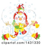 Clipart Of A Happy Snowman With A Bell Royalty Free Vector Illustration