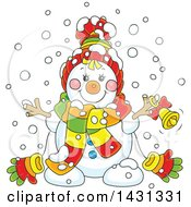 Clipart Of A Cartoon Happy Winter Snowman With A Bell Royalty Free Vector Illustration