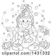 Clipart Of A Cartoon Black And White Happy Winter Snowman With A Bell Royalty Free Vector Illustration