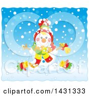 Clipart Of A Happy Winter Snowman With A Bell In The Snow Royalty Free Vector Illustration