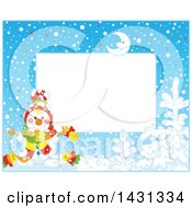Clipart Of A Horizontal Frame Of A Happy Winter Snowman With A Bell Royalty Free Vector Illustration